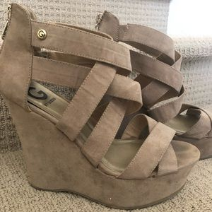 GUESS suede strap wedges
